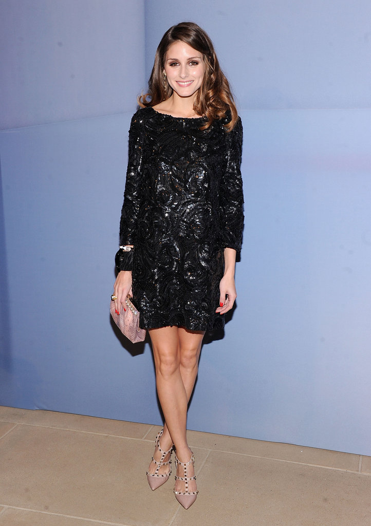 Olivia Palermo's sequined Marchesa dress got a dose of edge with a little help from her nude Valentino studded pumps.