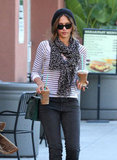 Jessica Alba carried two iced coffees leaving Starbucks.