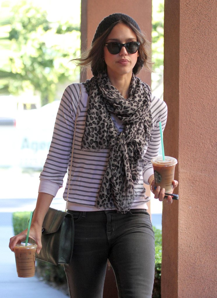 Jessica Alba wore a printed scarf.