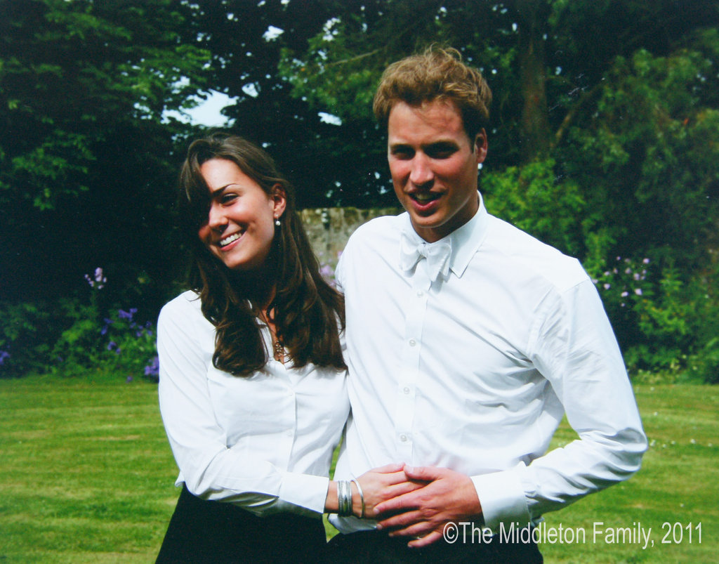 Kate Middleton and Prince William matched in white shirts after their university graduation in 2003.   © The Middleton Family, 2011. All rights reserved.