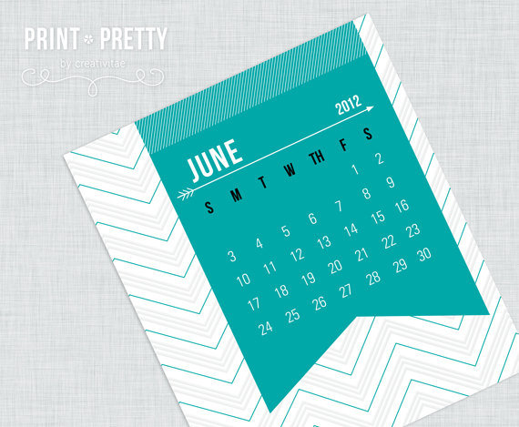 Printable 2012 Chevron-Inspired Calendar ($6)