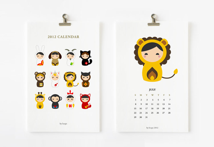 Animal Matryoshka 2012 Printable Calendar ($8)