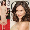 Katharine McPhee Wears Custom Nude Chiffon Donna Karan gown on the 2012 Golden Globes Red Carpet