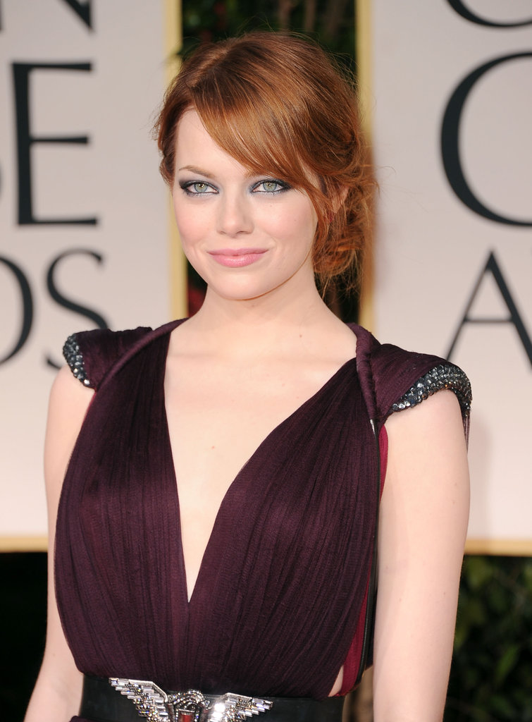 Emma Stone wore a winged-eye look on the red carpet.