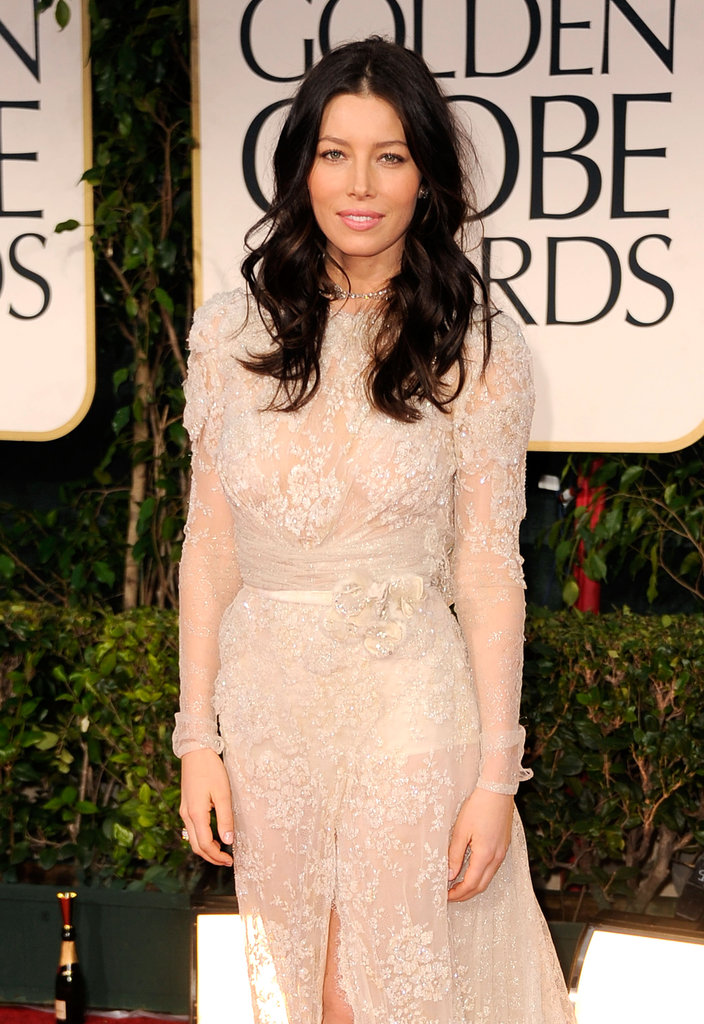 Jessica Biel arrived to the 2012 Golden Globe Awards.