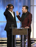 Johnny Depp and Ricky Gervais talked to each other at the 2012 Golden Globe Awards.