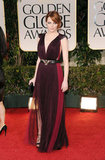 Emma Stone in a deep purple Lanvin gown.