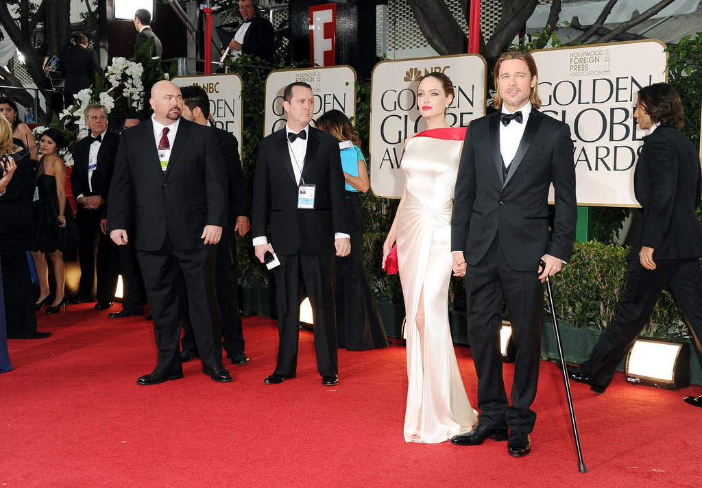 Brad Pitt arrived to the 2012 Golden Globe Awards on the arm of Angelina Jolie.