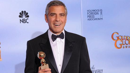 Video: Golden Globe Winner George Clooney Chats About Award Season Competition With Friend Brad Pitt