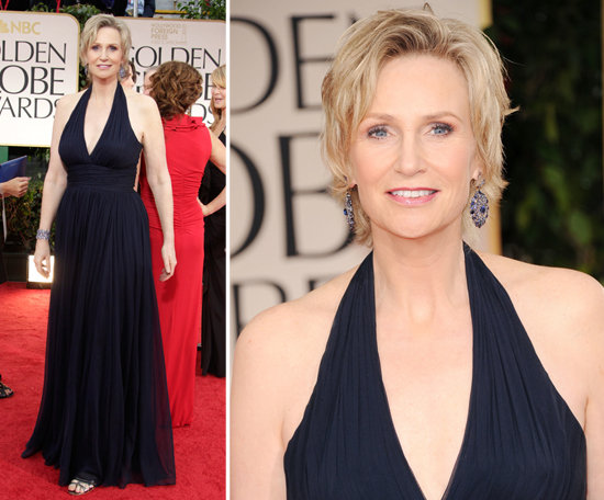 Jane Lynch's gown was no Sue Sylvester tracksuit. This Glee star wore a classy, navy halter gown.