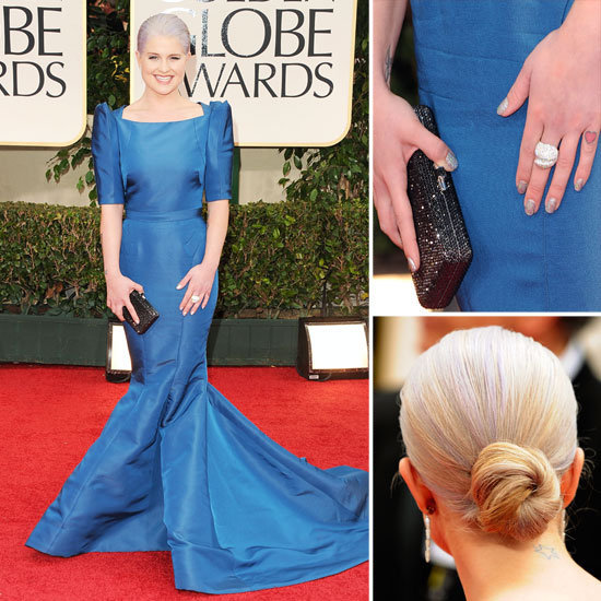 Kelly Osbourne went for Old Hollywood glamour at the Golden Globes with a floor-length sapphire blue Zac Posen dress, complete with structured shoulders and a pin-tucked waist.