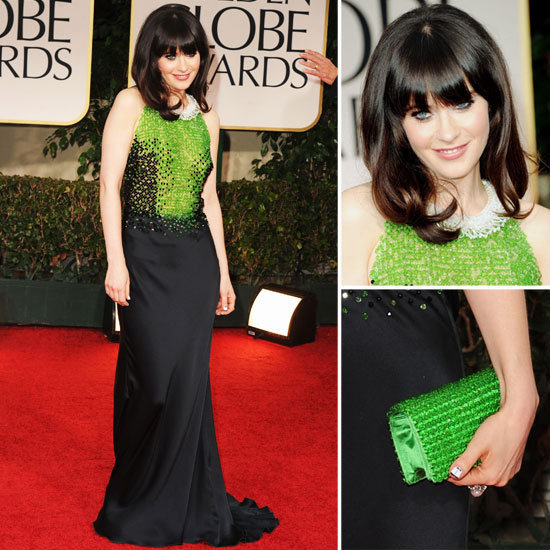 The always quirky Zooey Deschanel looked the picture of retro cuteness in a sequined black-and-green Prada number. She accessorized with a cool white choker, bright green clutch, and tuxedo-inspired nail designs.