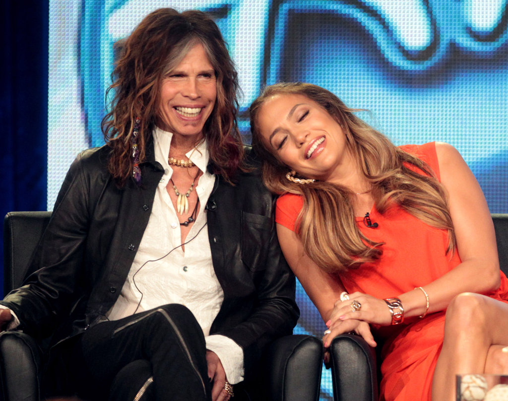 Steven Tyler and Jennifer Lopez at American Idol panel during 2012 TCAs.