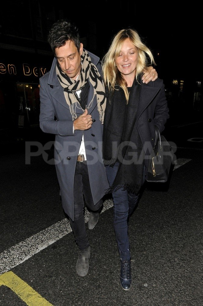 Kate Moss smiled on a date night with Jamie Hince.