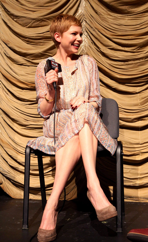 Michelle Williams smiled at a question about My Week With Marilyn.