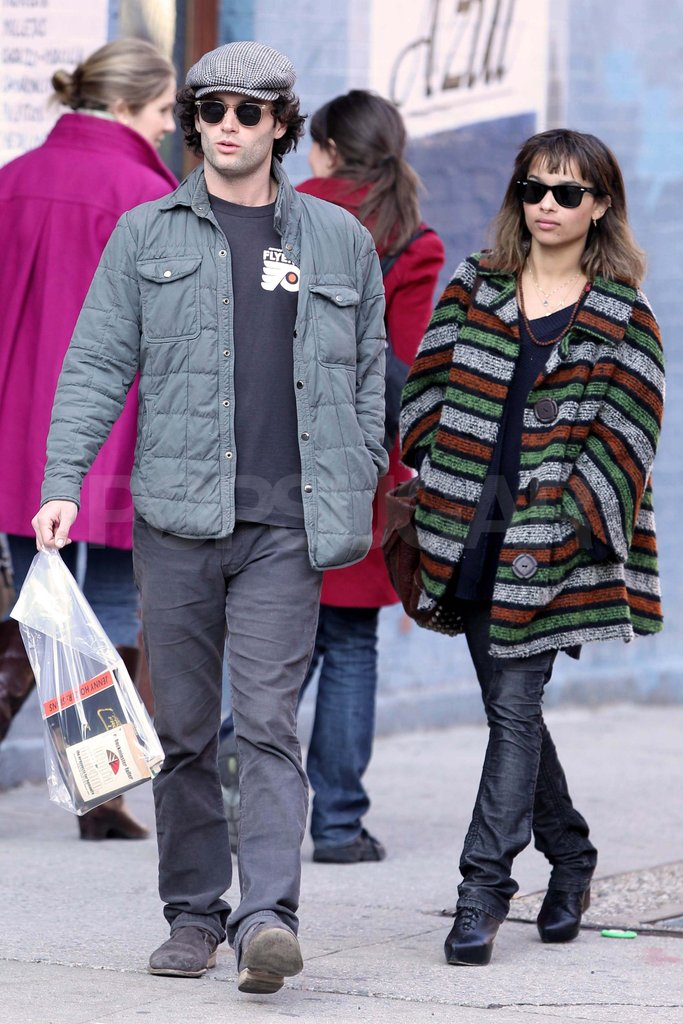 Penn Badgley and Zoe Kravitz out in NYC.