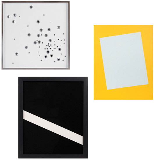 Art! Simply the best way to create a chic, spiffy, spruced-up space. Try a grouping of the following and prepare to be wowed! From top left, clockwise, Martha Angus Gem Art, Martha Angus Unframed Geometric Painting, and Martha Angus Framed Geometric Work on Paper