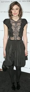 Keira Knightley in Black Lace Nina Ricci Dress, Chanel Bag