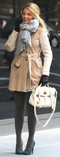 Blake Lively in Suede Fay Coat, Creme Mulberry Satchel