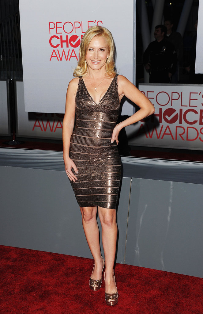 Angela Kinsey chose Hervé Léger for the 2012 People's Choice Awards.