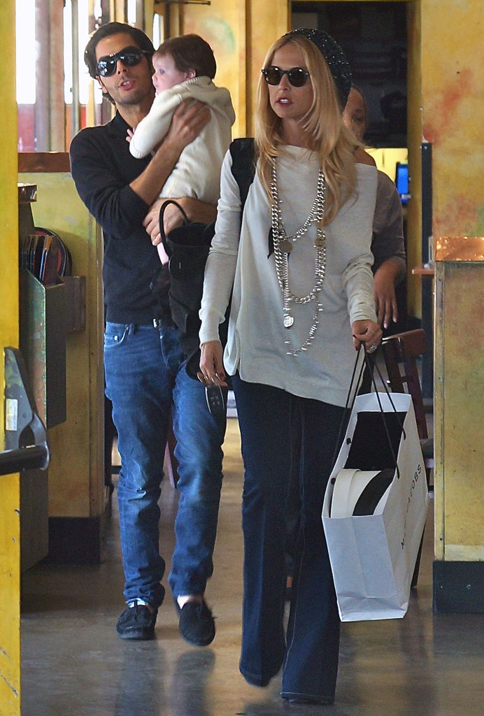 Rachel Zoe carried a shopping bag while Joey Maalouf held her son, Skyler.