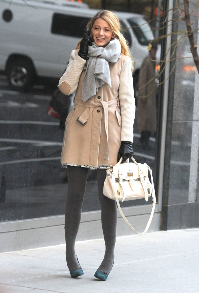 Blake Lively hit the streets of NYC in her winter wear to film.