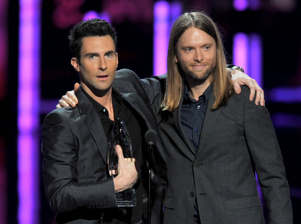 Maroon 5's Adam Levine and James Valentine accept a People's Choice Award.