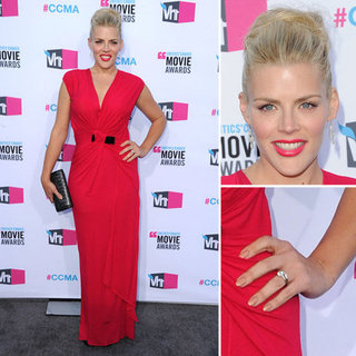Pictures of Busy Phillips at the 2012 Critics' Choice Awards in a Pink Red Dress