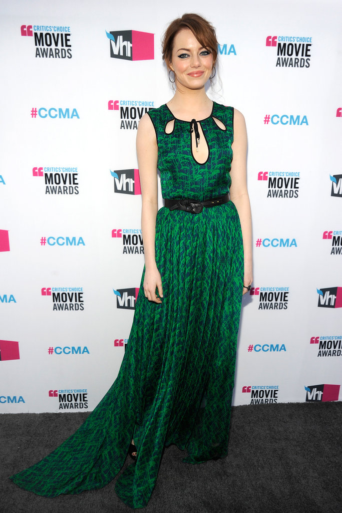 Emma Stone smiled in her green Jason Wu dress.