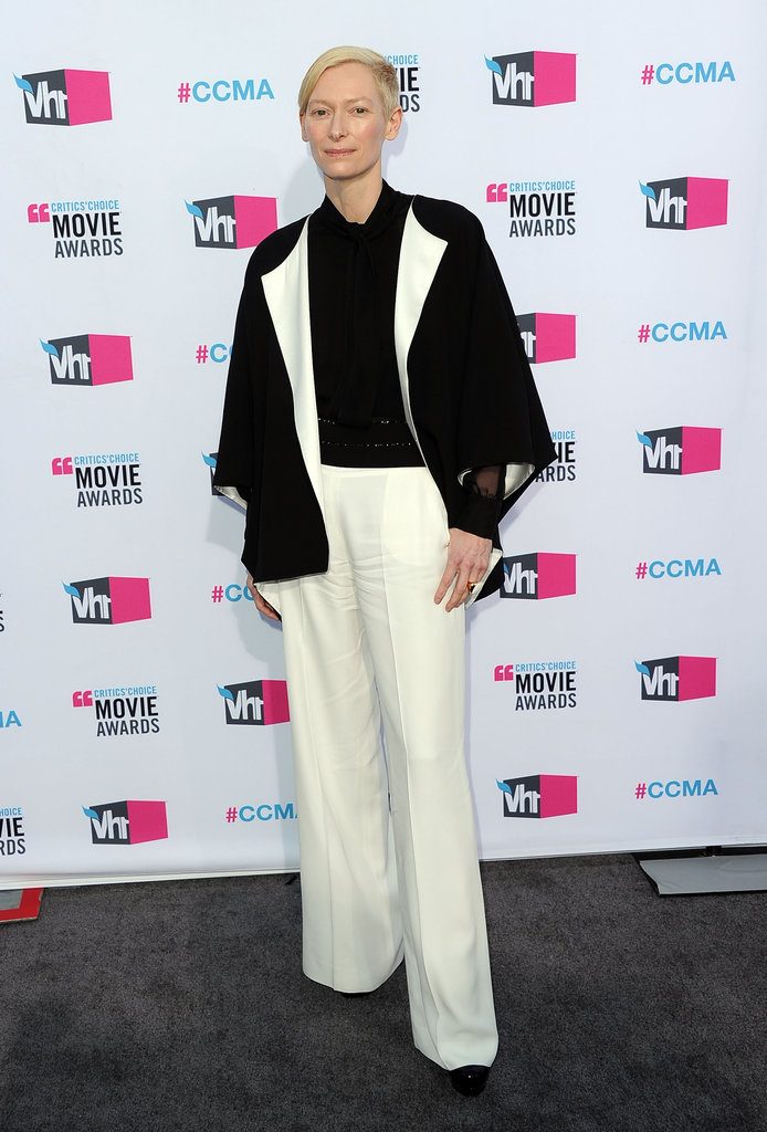 Tilda Swinton wore a black and white pantsuit to the Critics' Choice Movie Awards.