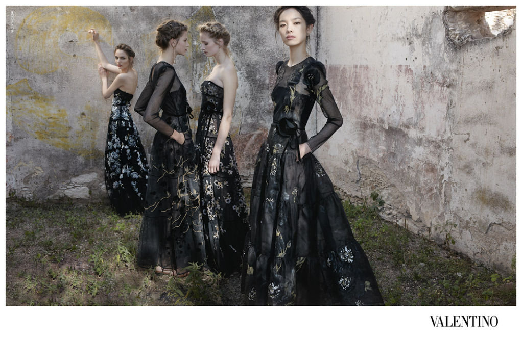 Sultry black dresses provide a sexy accent for this dreamy Valentino landscape. Source: Fashion Gone Rogue