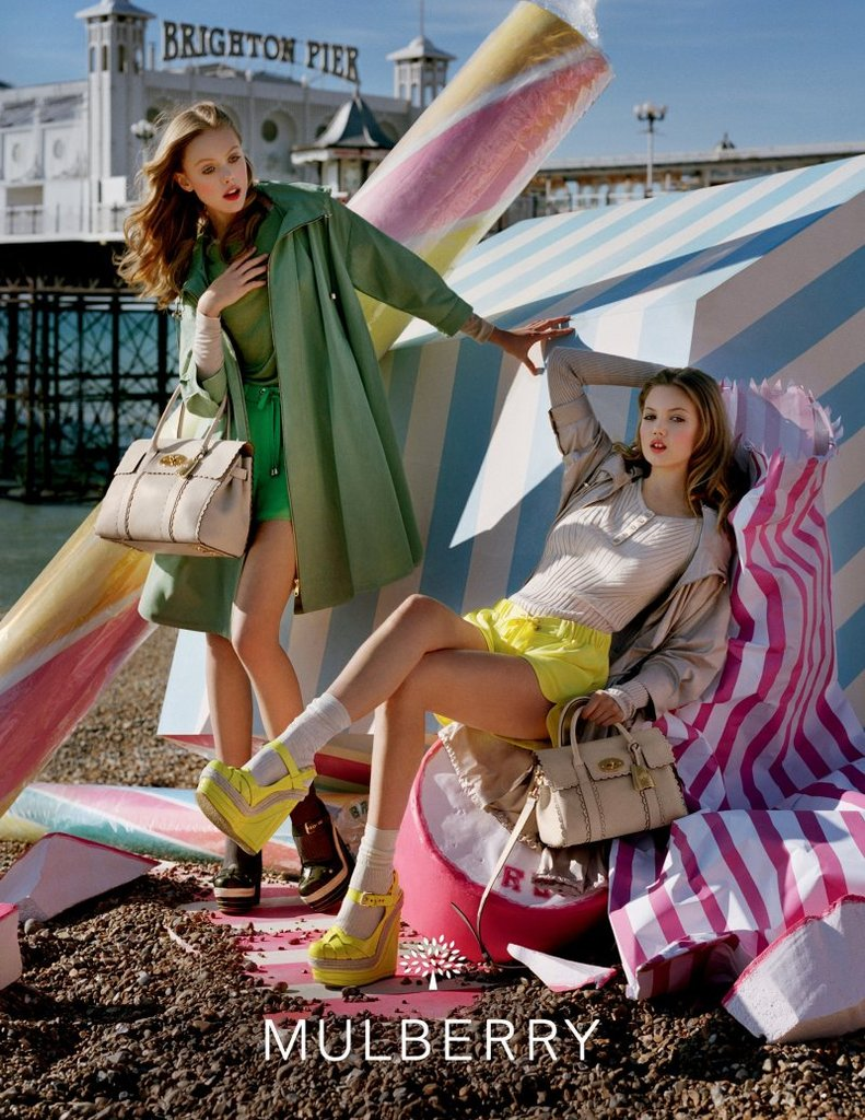 Candy colours and oversized desserts provided a pretty background for Mulberry's Spring '12 campaign. Source: Fashion Gone Rogue