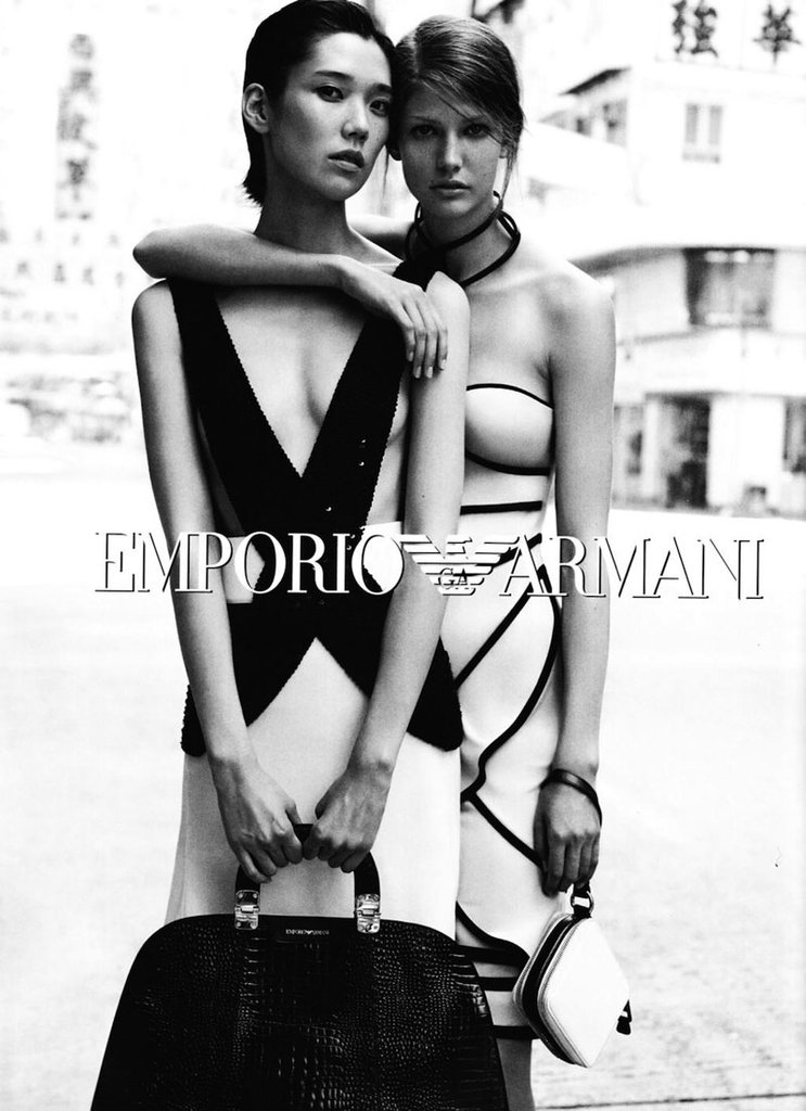 Models show off skin-baring monochromatic designs in Emporio Armani Spring ads. Source: Fashion Gone Rogue