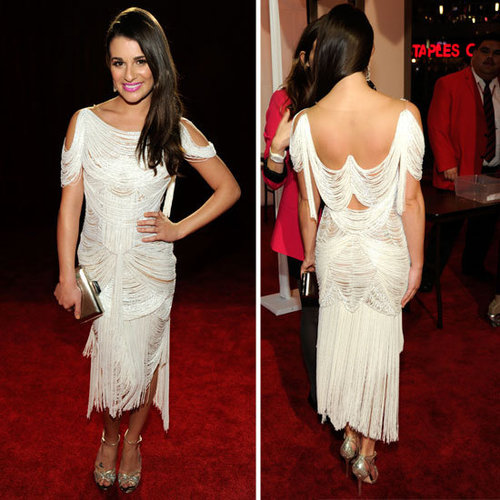 Pictures of Lea Michele in Fringed Marchesa on the Red Carpet at the 2012 Peole's Choice Awards: Rate or Hate Their Look!