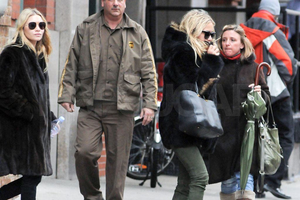 The Olsen sisters bundled up in NYC.