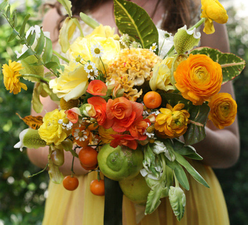 Gather limes, kumquats, and lemons on the branch and create a bursting Winter citrus bouquet from Design*Sponge.