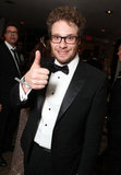 Seth Rogen gave the thumbs up at the Sony Pictures Golden Globes party.