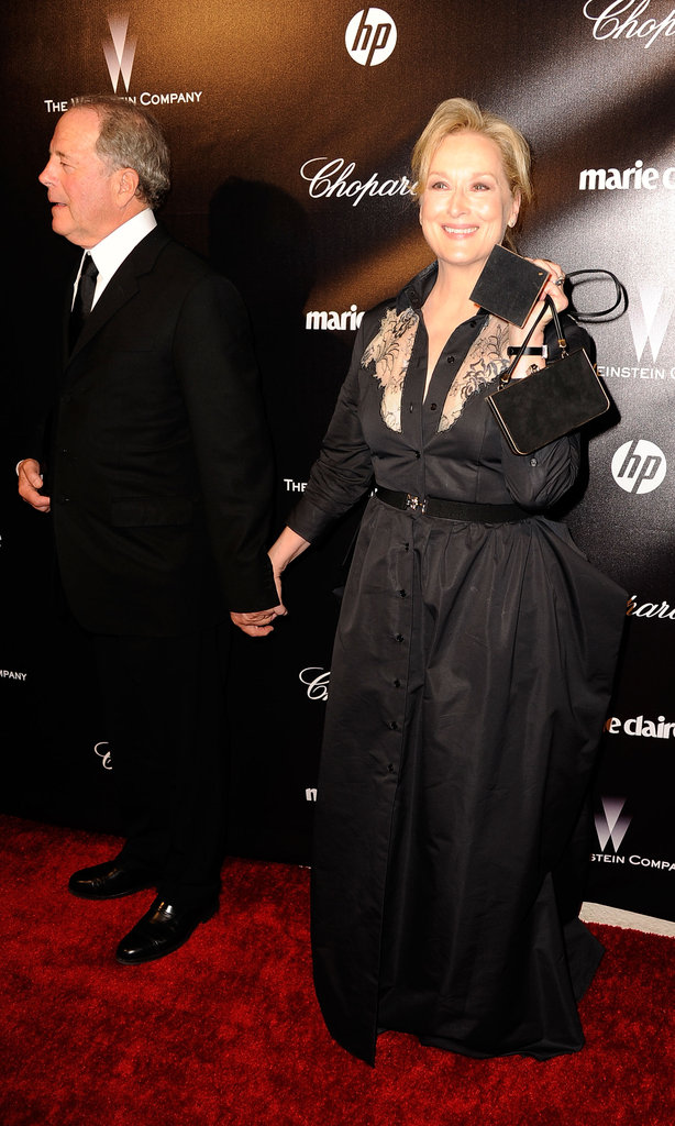 Meryl Streep on the red carpet at the Weinstein Company's Golden Globes after party.