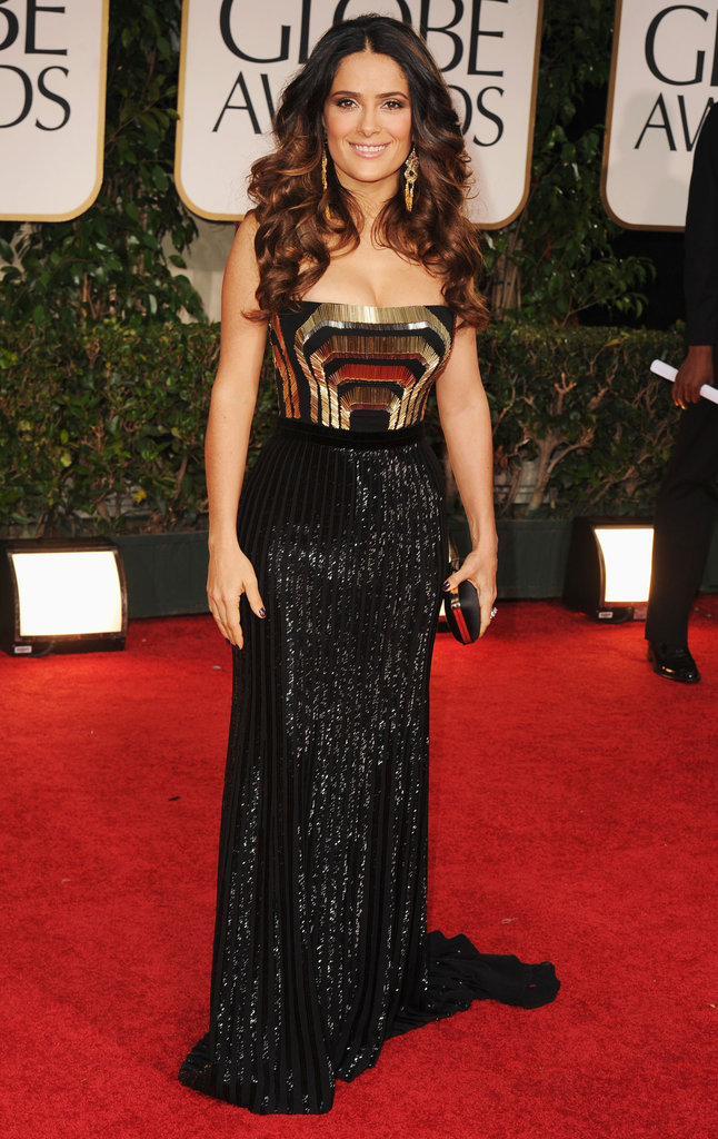 Salma Hayek at the Golden Globes.