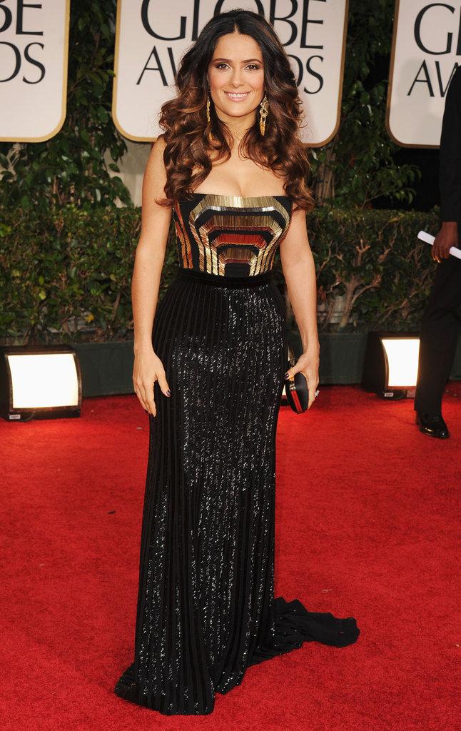 Salma Hayek at the Golden Globes.
