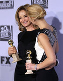 Jessica Lange and Claire Danes posed with their Golden Globe awards.