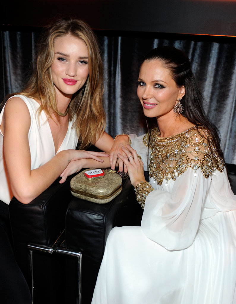 Rosie Huntington-Whiteley and Georgina Chapman sat next to each other at the Weinstein Company's Golden Globes after party.