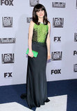 Zooey Deschanel wore Prada.
