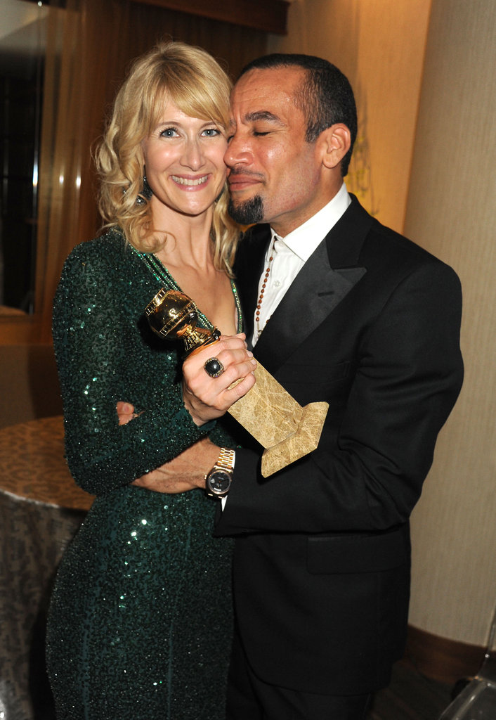 Winner Laura Dern gets lots of love from her on-again husband Ben Harper at the HBO party.