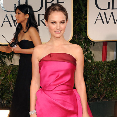 Natalie Portman Hot Pink Lanvin Dress Pictures at 2012 Golden Globes