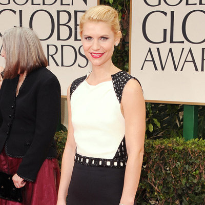 Claire Danes Black and White J. Mendel Dress Pictures at 2012 Golden Globes