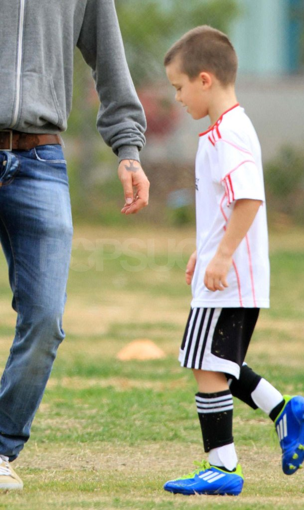 Cruz Beckham on the soccer field.