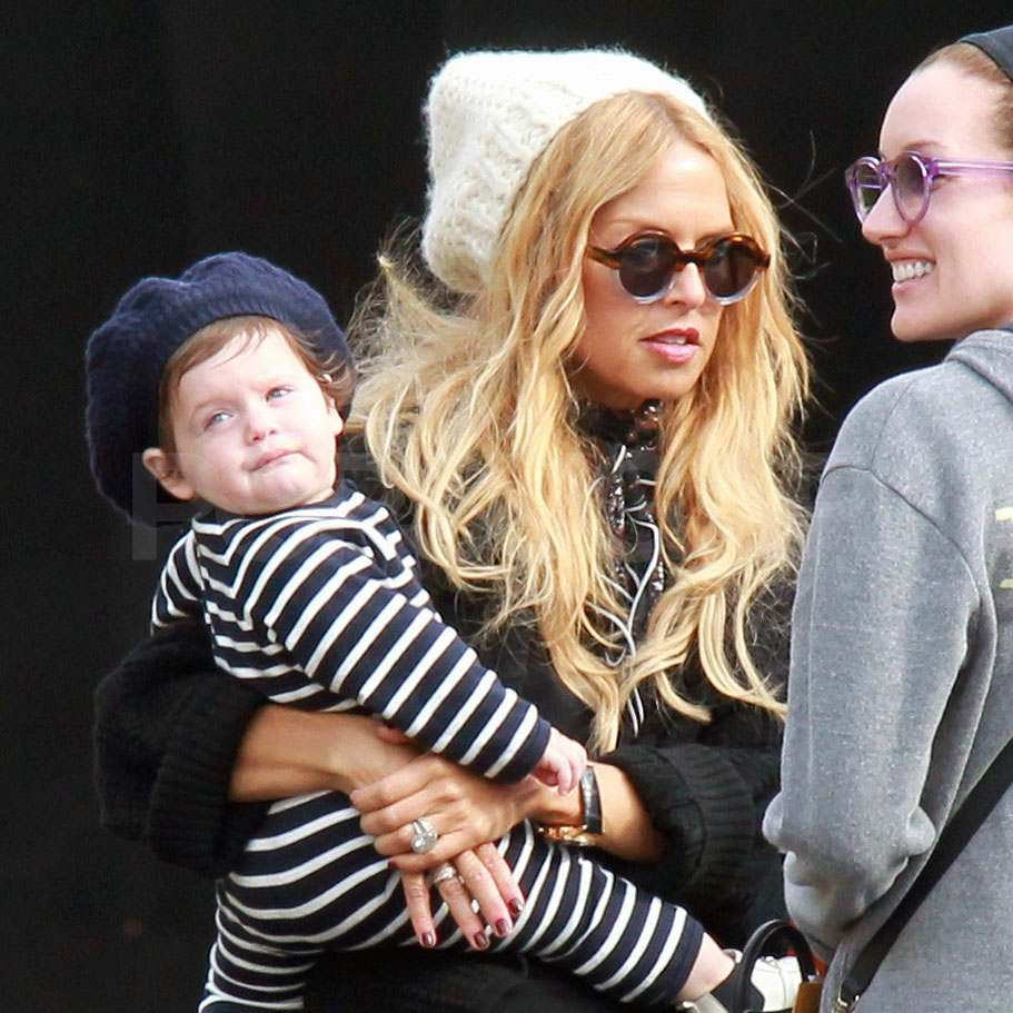 Rachel Zoe holding Skyler after lunch.