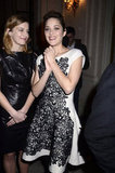 Marion Cotillard and Celine Sallette had fun at Le Meurice hotel.