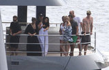 Matt and Luciana Damon hung out on a yacht with Chris Hemsworth and friends.